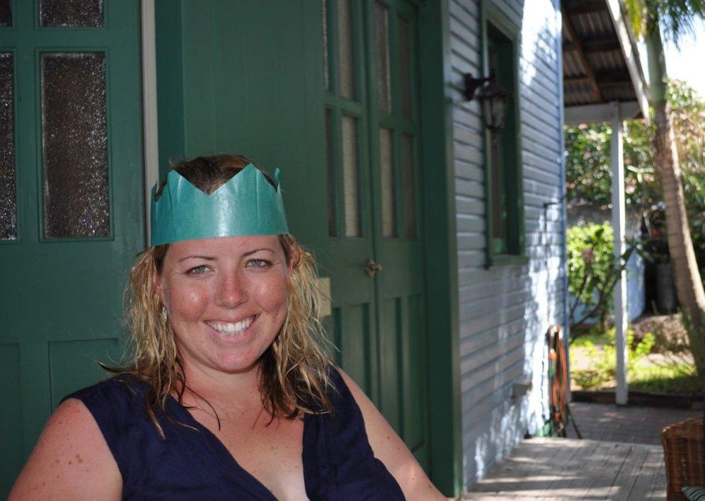 Eva in a paper hat