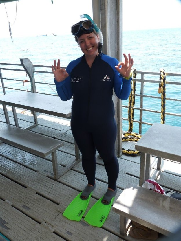 Eva getting ready to dive for the first time