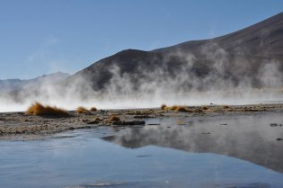 Bolivia, Steam rising from the hot spring