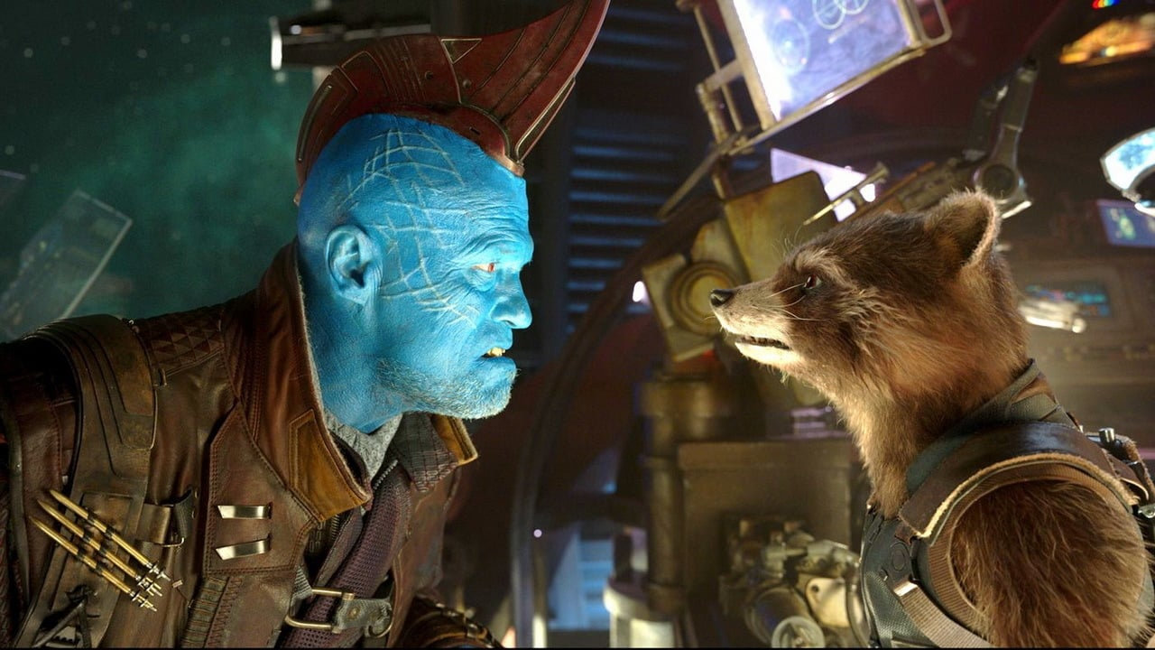 Yondu played by Michael Rooker, and Rocket Raccoon voiced by Bradley Cooper.