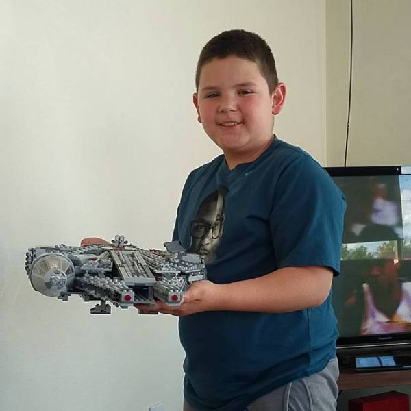 John A. DeLeon Jr. and the LEGO Millennium Falcon from Star Wars: The Force Awakens
