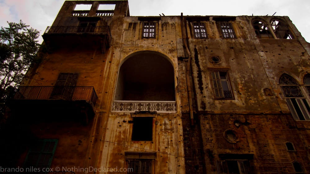 Bombed out, bullet ridden shell of an old building in Beirut, Lebanon