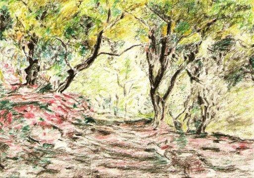 Olive Grove In The Moreno Garden. Monet reproduction. Materials: watercolour pencil.
