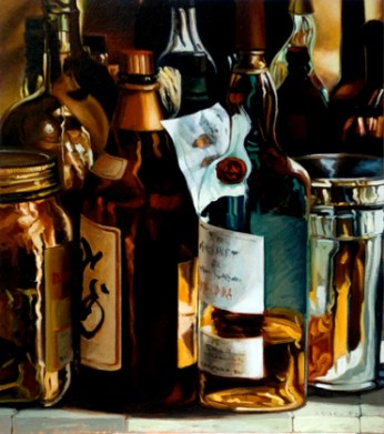 One Bourbon, One Scotch and One Beer Oil on panel A. Belov //All rights reserved