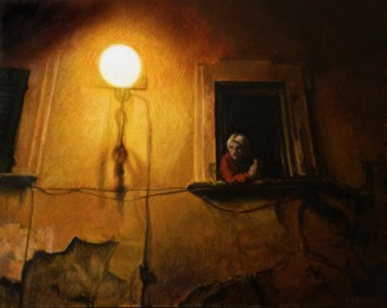 Watcher in the Night// egg tempera and oil //A. Belov //2013// all rights reserved