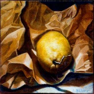 Limone #2 //Egg tempera and oil on linen //Anne Belov // all rights reserved