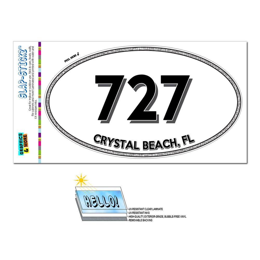 Area Code Oval Window Sticker 727 Florida FL Bay Pines