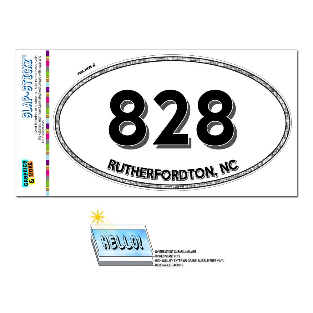 Area Code Oval Window Laminated Sticker 828 North Carolina