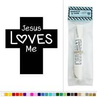 Jesus Loves Me Cross Vinyl Sticker Decal Wall Art Dcor   eBay