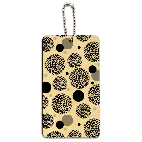 Wood Luggage Card Suitcase Carry- Id Tag Leopard Animal