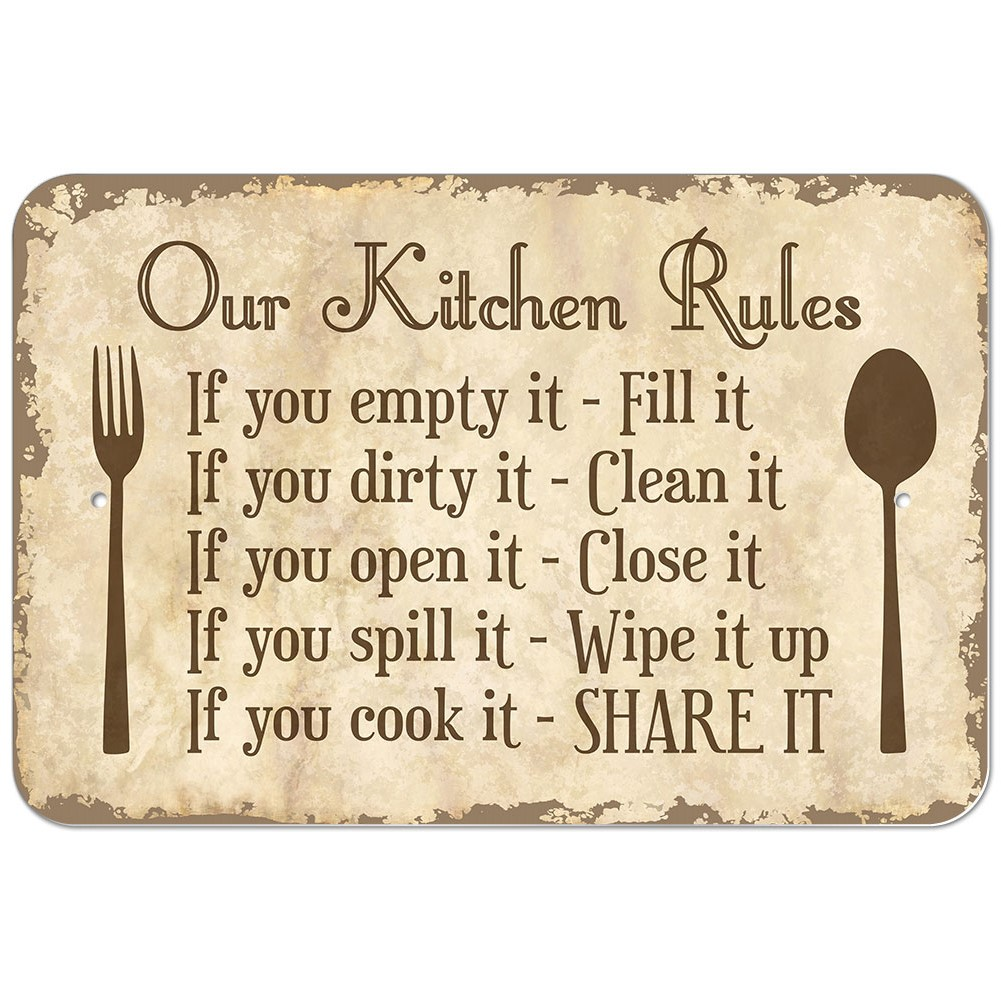Plastic Sign Our Kitchen Rules  eBay