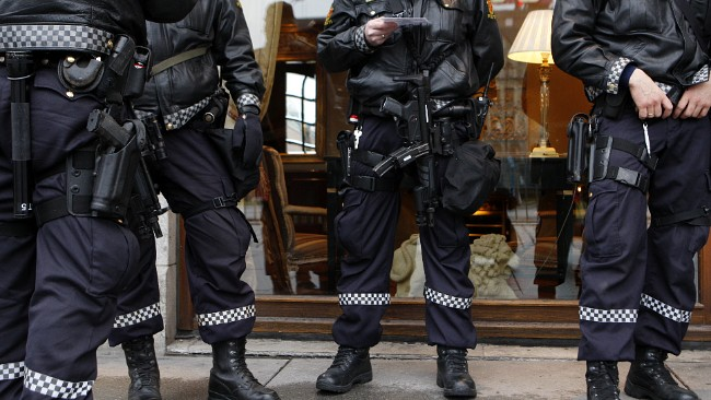Norwegian police on guard duty outside Obama's Hotel Grand in Oslo, Norway.