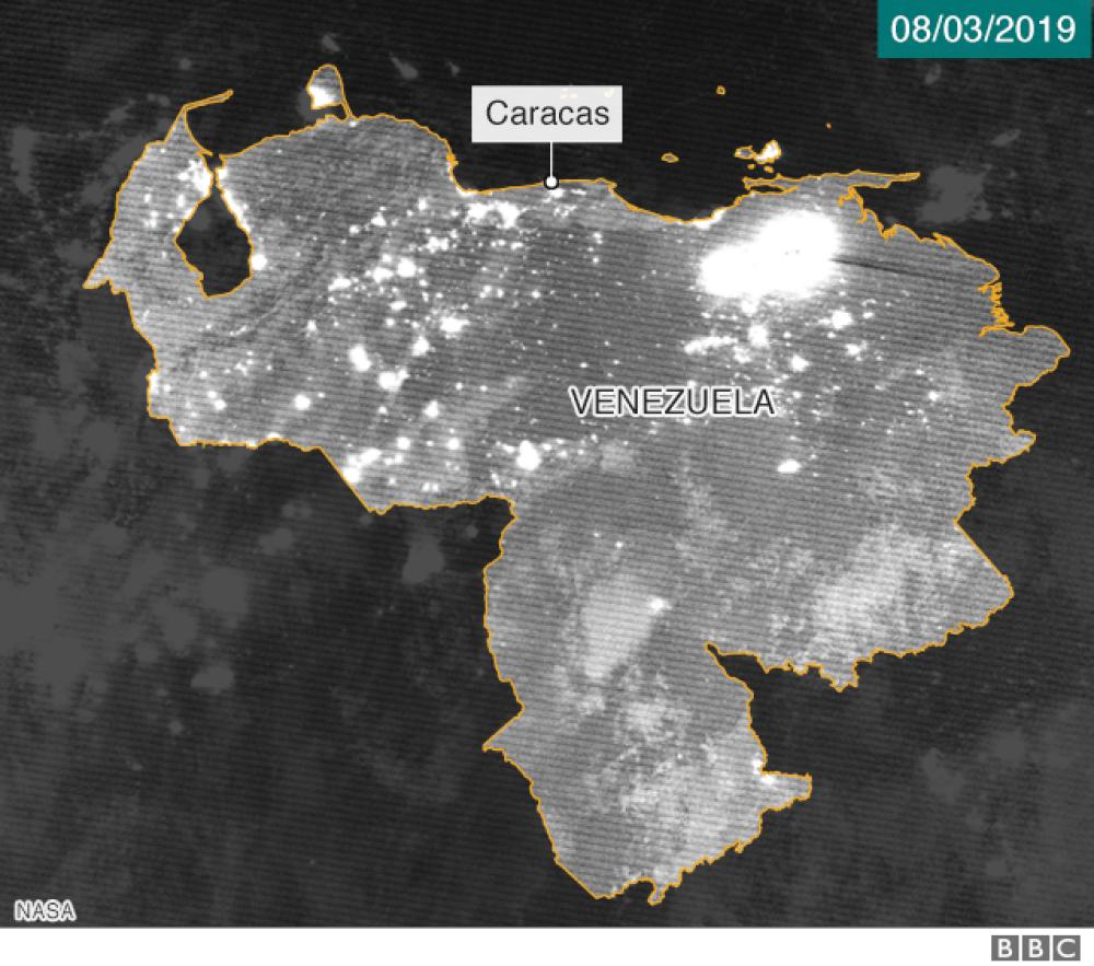 Así se vio desde el espacio el apagón más largo de Venezuela