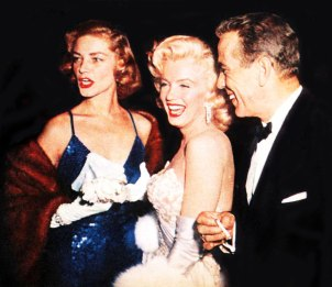 Lauren-BaCall-Humphrey-Bogart-and-Marilyn-Monroe-luaghing