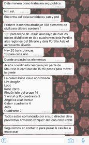 Parte de una conversación de WhatsApp donde se detalla en qué consiste el operativo policiaco especial que se implementará en Cancún para impedir que Carlos Joaquín gane elección.
