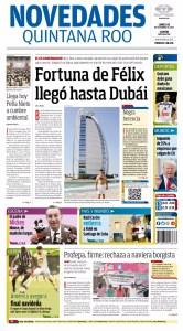 La portada del periódico Novedades de Quintana Roo de este lunes.