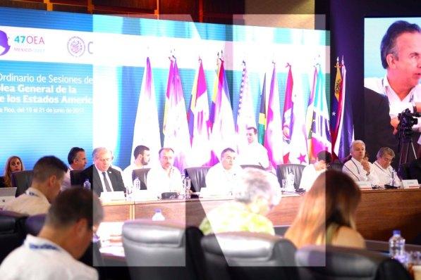 Cancún.- Primer día de actividades de la XLVII Período Ordinario de Sesiones de la Asamblea General de la Organización de los Estados Americanos (OEA), en el Moon Palace Arena.