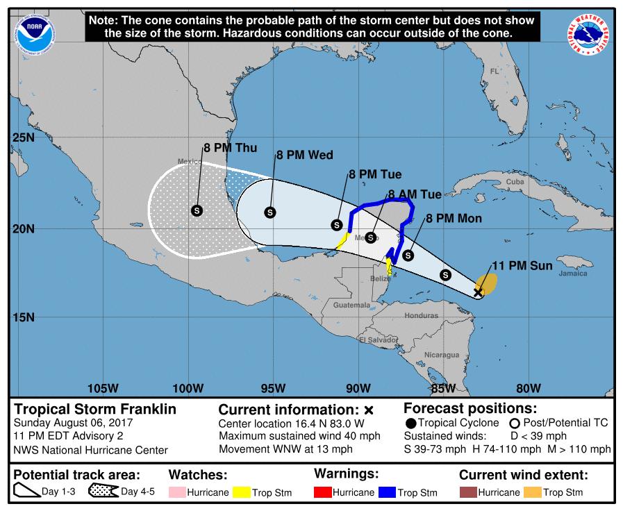 Tormenta Franklin se mantiene en Quintana Roo