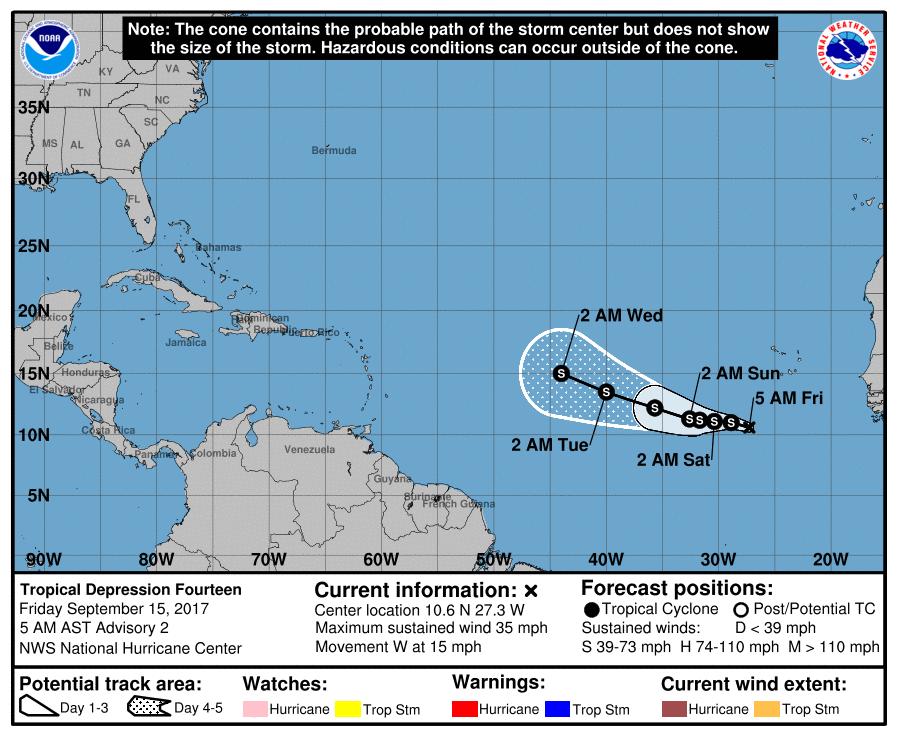 Tormentas tropicales Lee y María afectarán varios estados del país