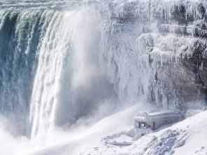 Ice covers the observation deck at the base of Horseshoe falls in Niagara Falls, Ontario, Canada Thursday, Jan. 31, 2019. (Tara Walton/The Canadian Press via AP)