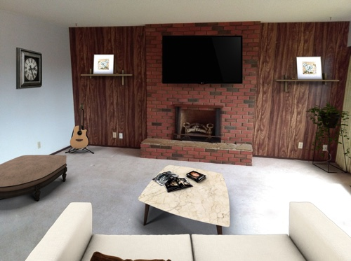 Virtual home staging, a living room after virtual staging.