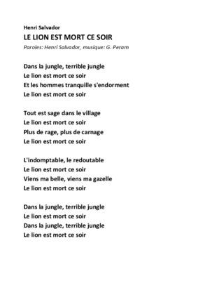 Parole Le Lion Est Mort Ce Soir : parole, Soir.pdf, Notice, Manuel, D'utilisation