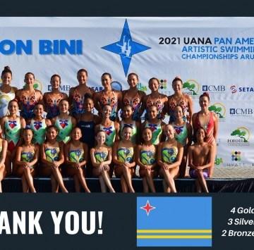 Aruba ta briya cu varios medaya na e UANA Pan American Artistic Swimming Championships