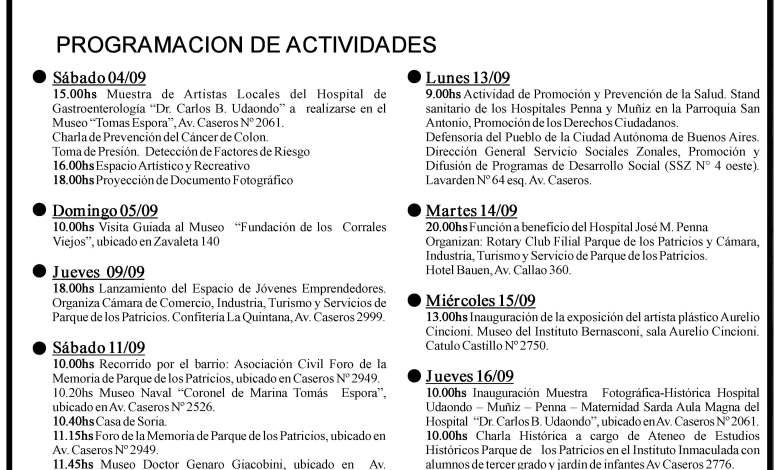 Programa de festejos del aniversario de Parque Patricios