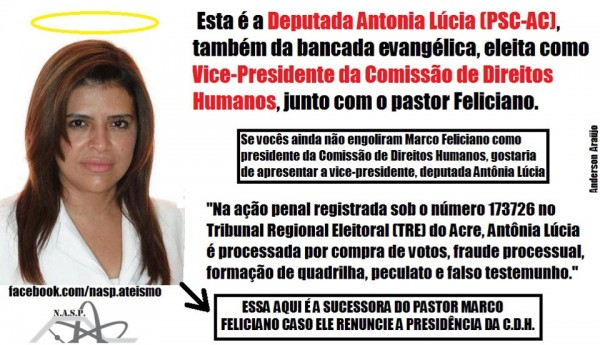 Imagem de protesto contra Antônia Lúcia que circula no Facebook
