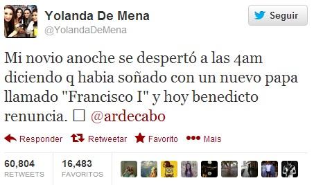 Publicação de Yolanda feita no dia 11/02 já superou a marca de 60 mil retweets