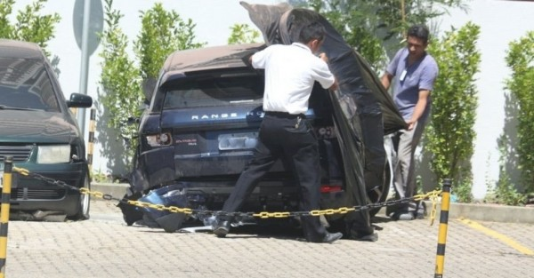 Carro da atriz após o acidente no último dia 31 de janeiro