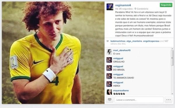 Publicação da mãe de David Luiz no Instagram