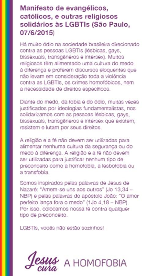 manifesto jesus cura homofobia