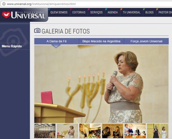 """Site da Igreja Universal refere-se a Ester Bezerra como """"A Dama da fé""""; Alcunha também dá título a livro biográfico da esposa do bispo Macedo"""