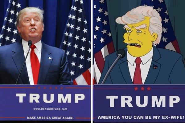Donald Trump e sua representação em um episódio de Os Simpsons do ano 2000