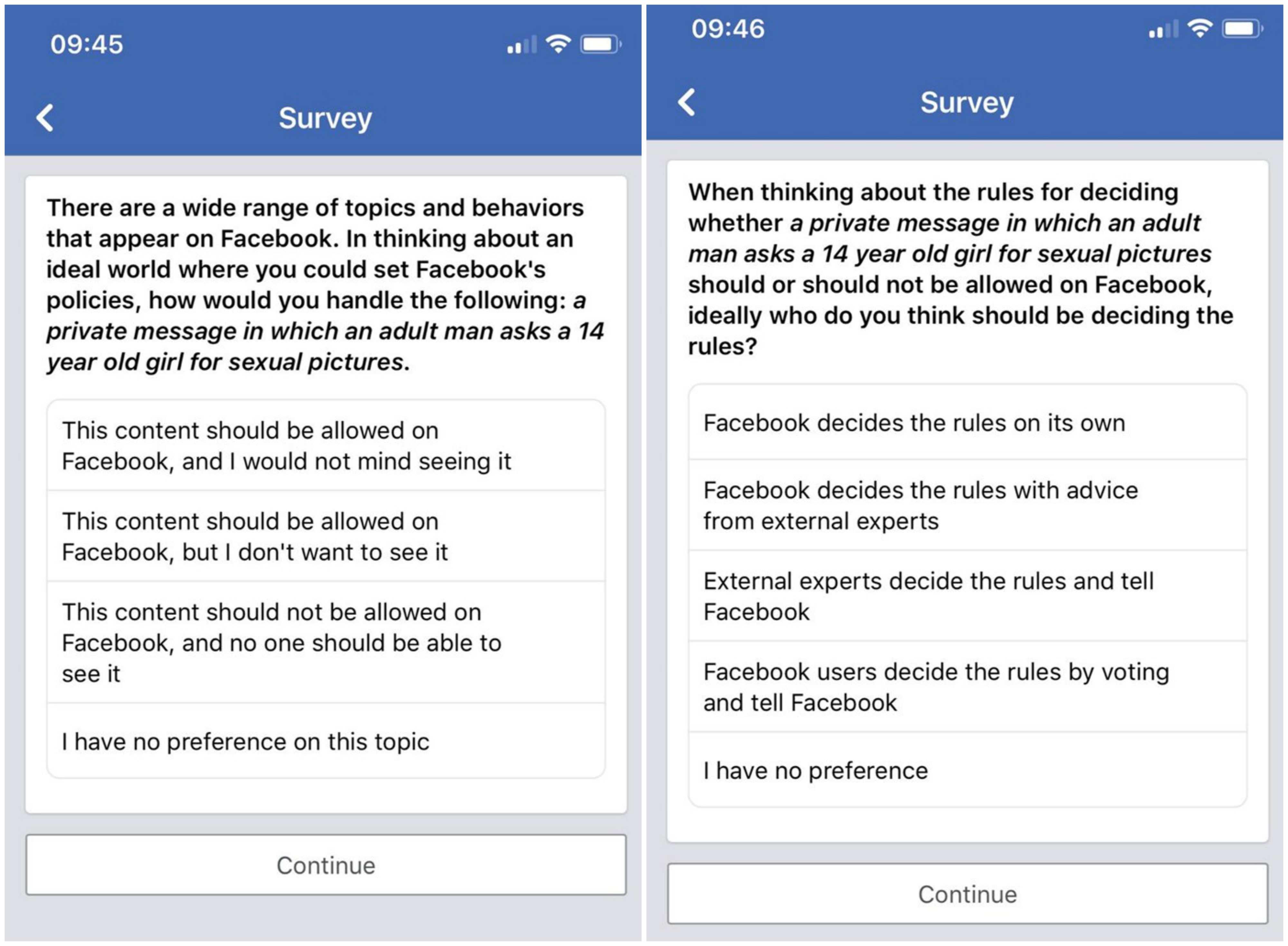 Facebook perguntou a usuários se é aceitável que adultos assediem crianças
