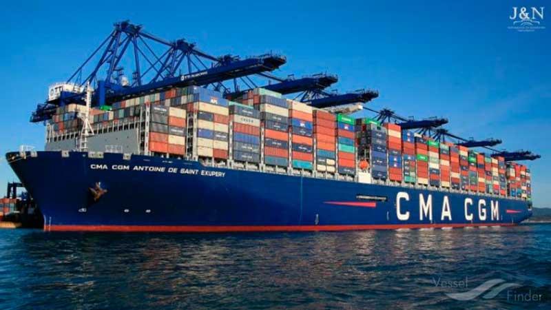 8. CMA CGM Antoine de Saint Exupery (2018). TEU máximo: 20.954 (De estas características hay tres barcos).