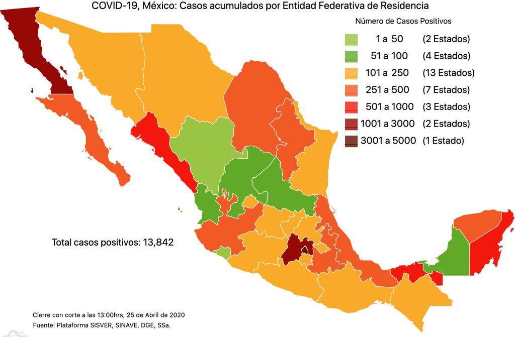 #COVID19 en México, casos activos, positivos, negativos, sospechosos, defunciones y tasa de incidencia por estado al 25 de abril 2020 4