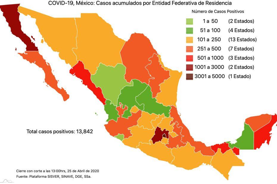 #COVID19 en México, casos activos, positivos, negativos, sospechosos, defunciones y tasa de incidencia por estado al 25 de abril 2020 1