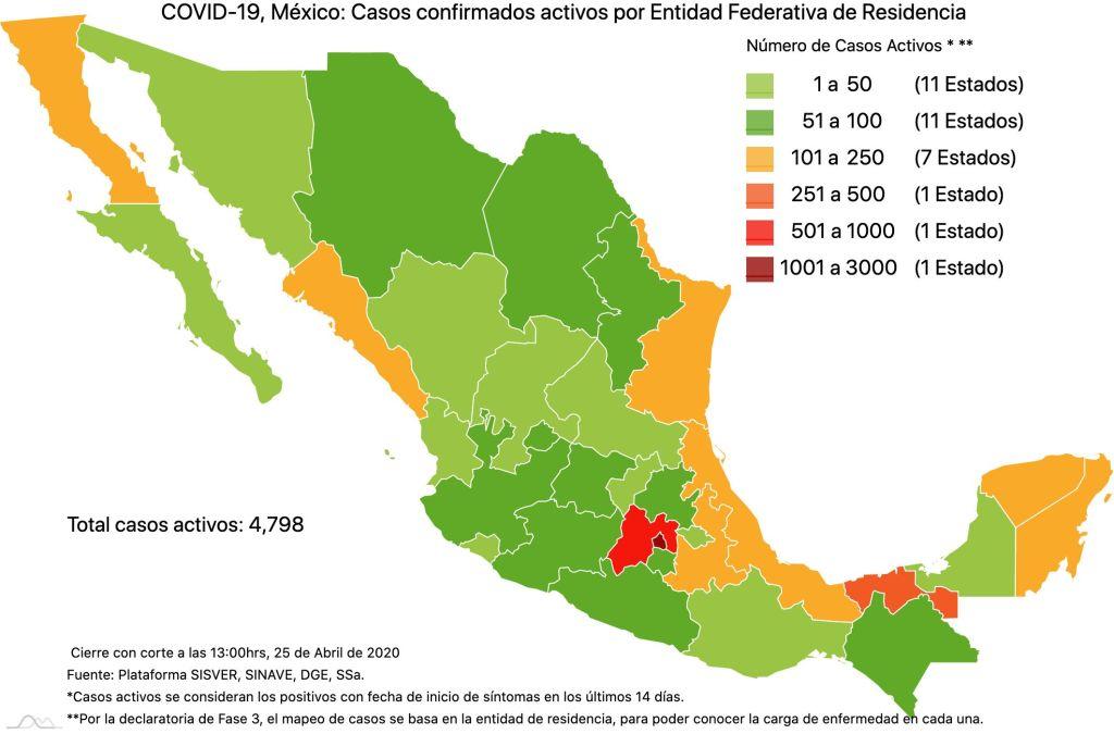 #COVID19 en México, casos activos, positivos, negativos, sospechosos, defunciones y tasa de incidencia por estado al 25 de abril 2020 5