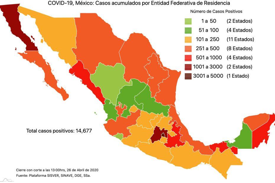 #COVID19 en México, casos activos, positivos, negativos, sospechosos, defunciones y tasa de incidencia por estado al 26 de abril 2020 1