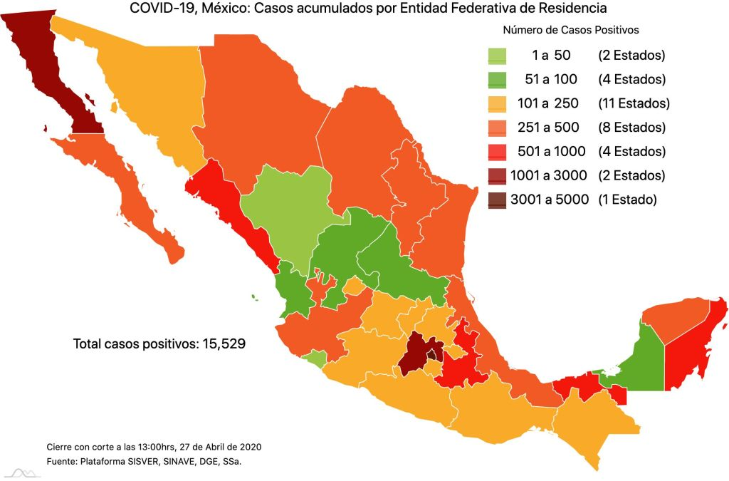 #COVID19 en México, casos activos, positivos, negativos, sospechosos, defunciones y tasa de incidencia por estado al 27 de abril 2020 2