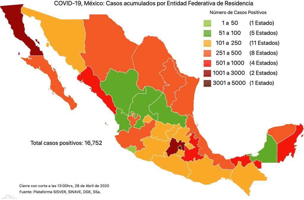 #COVID19 en México, casos activos, positivos, negativos, sospechosos, defunciones y tasa de incidencia por estado al 28 de abril 2020 2