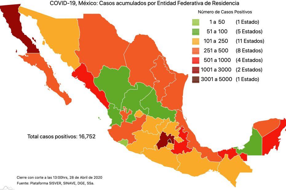 #COVID19 en México, casos activos, positivos, negativos, sospechosos, defunciones y tasa de incidencia por estado al 28 de abril 2020 1