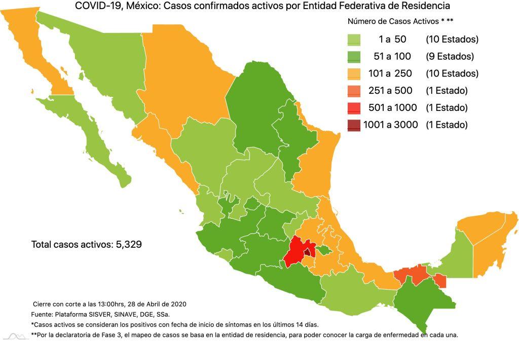 #COVID19 en México, casos activos, positivos, negativos, sospechosos, defunciones y tasa de incidencia por estado al 28 de abril 2020 3