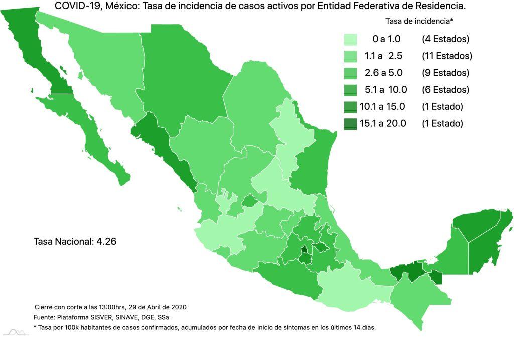 #COVID19 en México, casos activos, positivos, negativos, sospechosos, defunciones y tasa de incidencia por estado al 29 de abril 2020 4