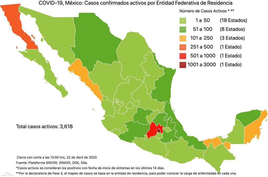 #COVID19 en México, casos activos, positivos, negativos, sospechosos, defunciones y tasa de incidencia por estado al 22 de abril 2020 3