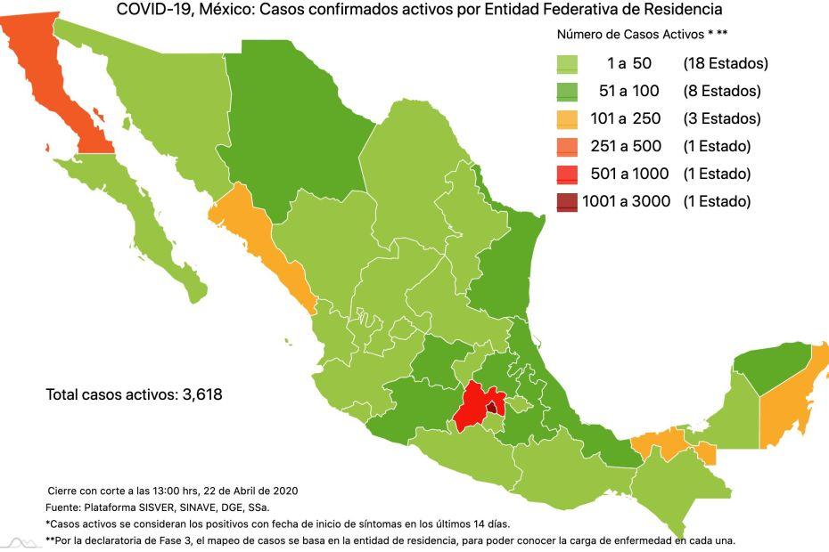 #COVID19 en México, casos activos, positivos, negativos, sospechosos, defunciones y tasa de incidencia por estado al 22 de abril 2020 1