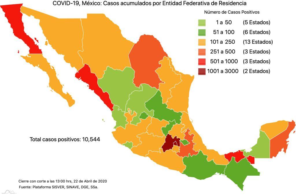#COVID19 en México, casos activos, positivos, negativos, sospechosos, defunciones y tasa de incidencia por estado al 22 de abril 2020 2